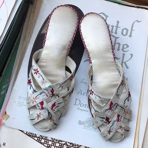 Vintage Silk House Slippers Heels embroidered bird